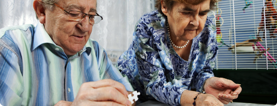 elderly playing puzzle together