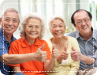 elderly people having a picture together